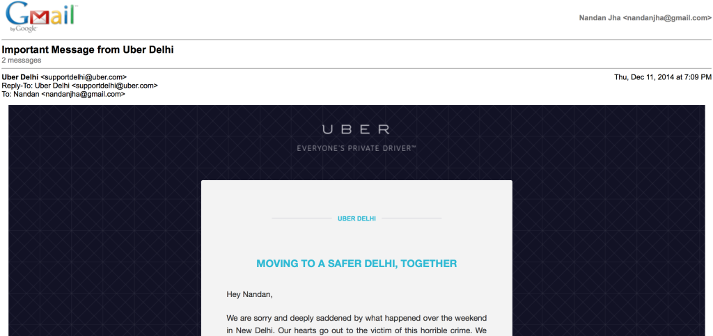 Mail from Uber  sent on Dec 11 evening